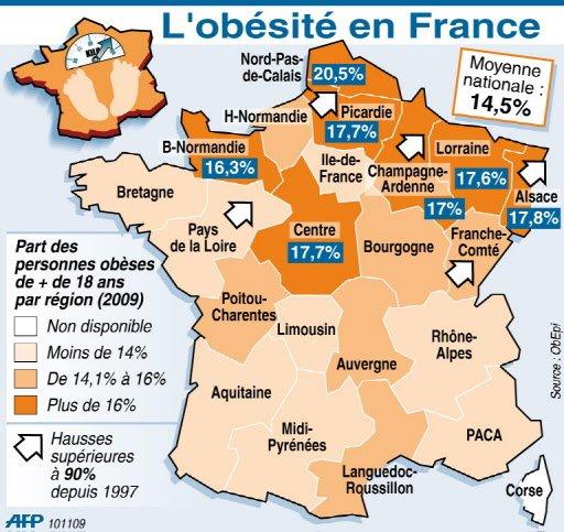 L'obésité, les Etats-Unis et la France : les fastfood CartePersonnesMajeuresObesesRegionsFrance2009